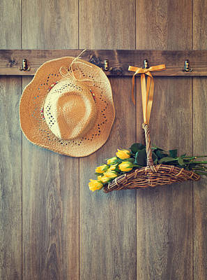 Hanging Basket Photograph - Straw Hat by Amanda Elwell