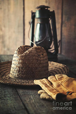Photograph - Straw Hat Gloves And Lantern On Table by Sandra Cunningham