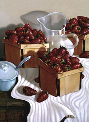 Strawberries And Cream 1997 Print by Larry Preston