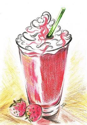 Strawberries And Cream Art Print by Teresa White