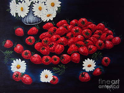 Strawberries And Daisies Original Painting Oil On Canvas Art Print by Drinka Mercep