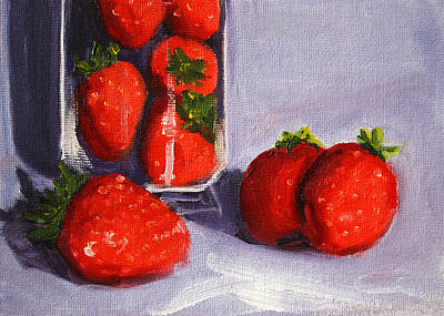 Strawberries And Glass Art Print