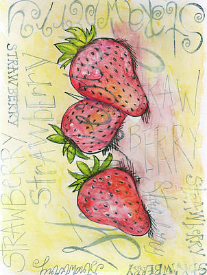 Kitchen Watercolor Painting - Strawberries by Anne Seay