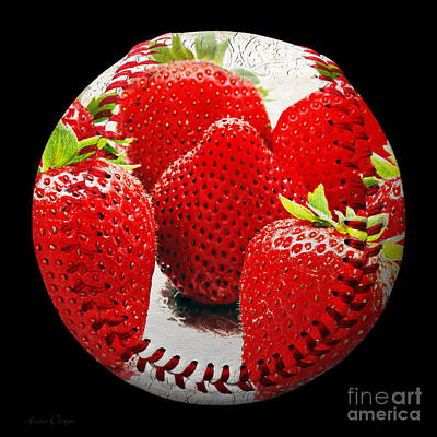 Strawberries Baseball Square Art Print by Andee Design