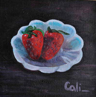 Painting - Strawberries In A Dish by Calliope Thomas