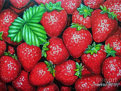 Painting - Strawberries Painting Oil On Canvas by Drinka Mercep