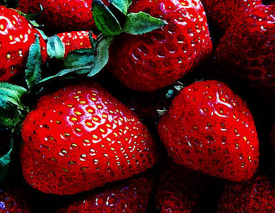 Photograph - Strawberries Paintstyle by Laurie Tsemak