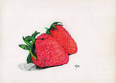 Rosaceae Drawing - Strawberries by Yvonne Johnstone