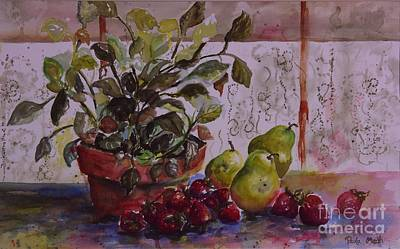 Painting - Strawberry Afternoon W/ Pears by Paula Marsh