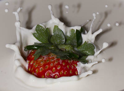 Art Print featuring the photograph Strawberry And Cream by Cathy Donohoue