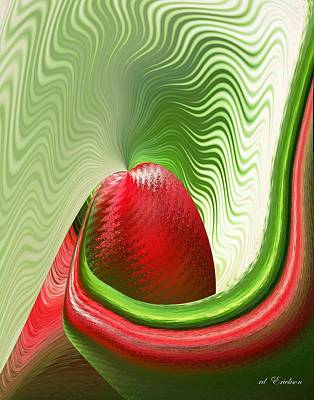 Rderder Digital Art - Strawberry And Fan by rd Erickson