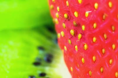 Strawberry Digital Art - Strawberry And Kiwi Abstract by Modern Art Prints