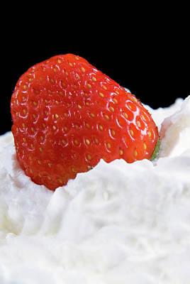 Strawberry And Whipped Cream Art Print