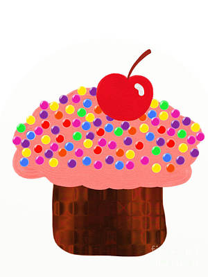 Digital Art - Strawberry Cupcake by Andee Design