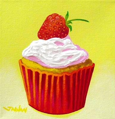 Strawberry Cupcake Art Print by John  Nolan
