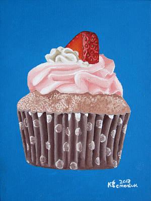 Strawberry Cupcake Art Print by Kayleigh Semeniuk