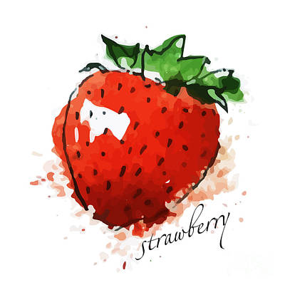 Food And Beverage Digital Art - Strawberry by Dakalova Iuliia