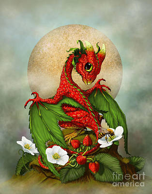 Fantasy Digital Art - Strawberry Dragon by Stanley Morrison