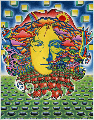 60s Drawing - Strawberry Fields For Lennon by Jeff Hopp