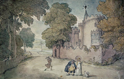 Gothic Revival Photograph - Strawberry Hill Hand Coloured Aquatint by Thomas Rowlandson