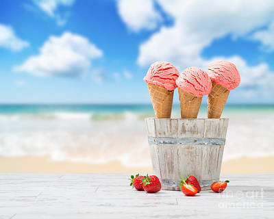 Strawberry Ice Creams Art Print by Amanda Elwell