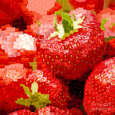 Strawberry Mosaic Art Print by Anne Gilbert
