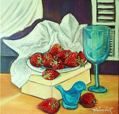 Art Print featuring the painting Strawberry On Box by Yolanda Rodriguez