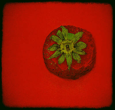 Food Stores Mixed Media - Strawberry On Red Background by Bob RL Evans