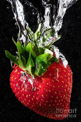 Strawberry Splash Art Print by Jarrod Erbe