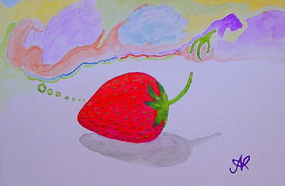 Strawberry Thoughts Art Print