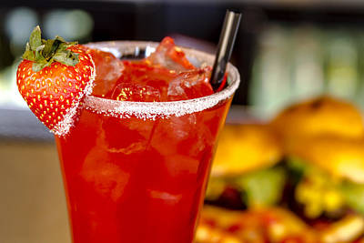 Martini Royalty-Free and Rights-Managed Images - Strawberry Vodka Drink and Dinner by Teri Virbickis