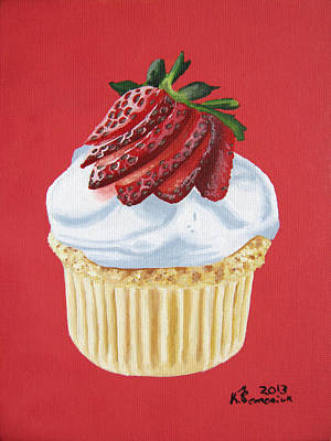 Strawberry White Art Print by Kayleigh Semeniuk