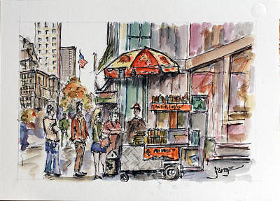 Hot Dog Stand Painting - Stray Dogs At The Big Apple by Jorge Garza
