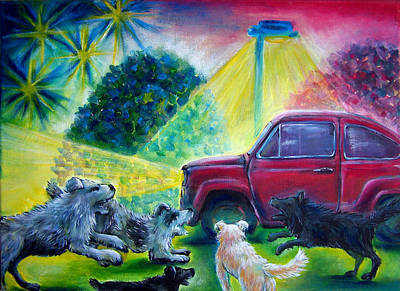 Fiat Car Painting - Stray Dogs Don't Like Cars by Vanja Zogovic