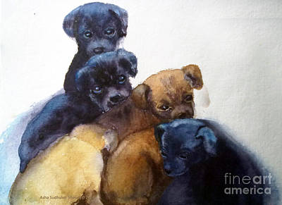 Stray Puppies Art Print