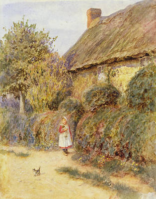 House Pet Painting - Straying  by Helen Allingham