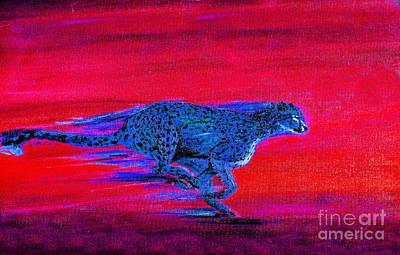 Streaking Cheetah Art Print