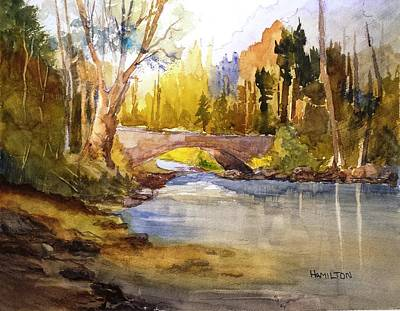 Painting - Stream And Bridge by Larry Hamilton