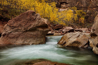 Zion National Park Photograph - Stream At Autumn by Andrew Soundarajan