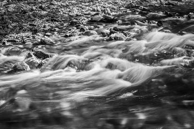 Photograph - Stream Fall Colors Great Smoky Mountains Painted Bw  by Rich Franco