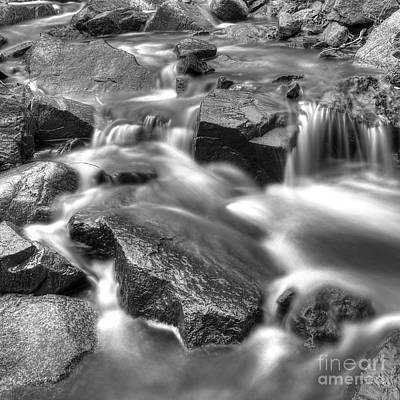 Falls Photograph - Stream Flowing Over Rocks In Black And White by Twenty Two North Photography