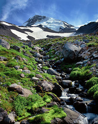 Stream Flowing Through Rocks, Mt Hood Art Print