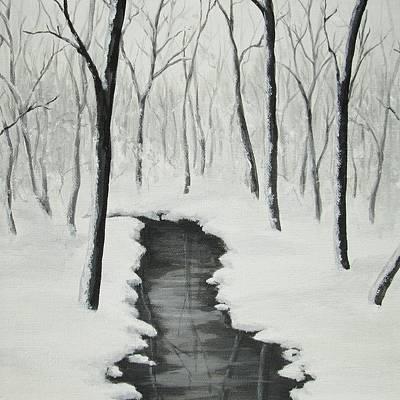 Painting - Stream In A Snowy Wood by Anna Bronwyn Foley