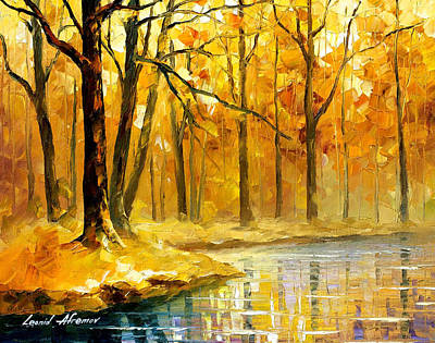 Stream In The Forest - Palette Knife Oil Painting On Canvas By Leonid Afremov Original by Leonid Afremov