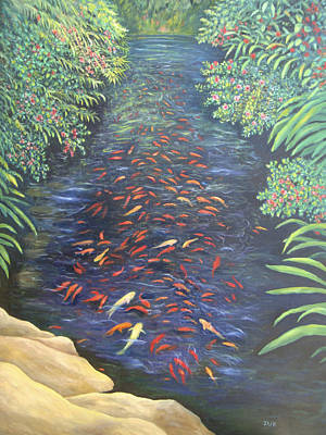 Art Print featuring the painting Stream Of Koi by Karen Zuk Rosenblatt