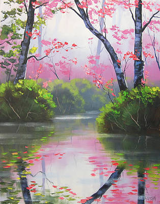 Impressionism Paintings - Stream Reflections by Graham Gercken