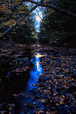 Photograph - Stream Under Autumn Full Moon by Jeff Sinon