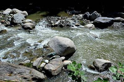 Art Print featuring the photograph Stream Water Foams And Rushes Past Boulders by Imran Ahmed