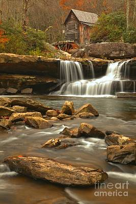 Woden Wall Art - Photograph - Streaming Below The Glade Creek Grist Mill by Adam Jewell