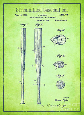 Baseball Drawing - Streamlined Baseball Bat Or The Like Green Us 2169774 A by Evgeni Nedelchev